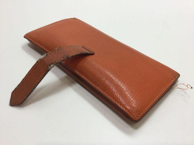 エルメス(Hermès)のお財布のベルト・ループ作成、ほつれ縫いが完了しました(愛知県名古屋市M様)before