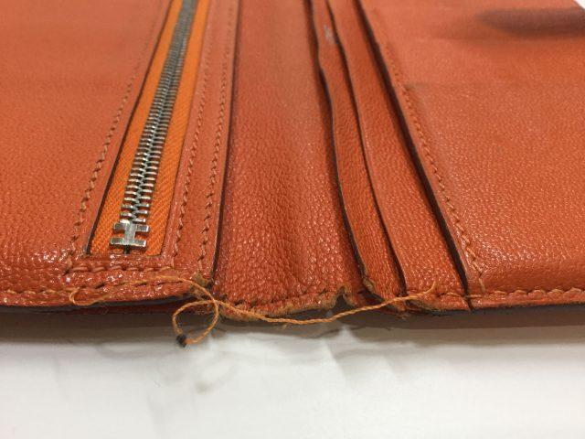 エルメス(Hermès)のお財布のベルト・ループ作成、ほつれ縫いが完了しました(愛知県名古屋市M様)before04